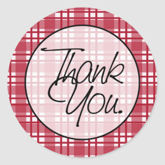 Red Plaid | Thank You Round Stickers