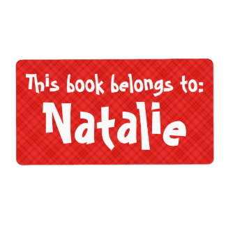 """Red Plaid """"This Book Belongs To"""" Label"""
