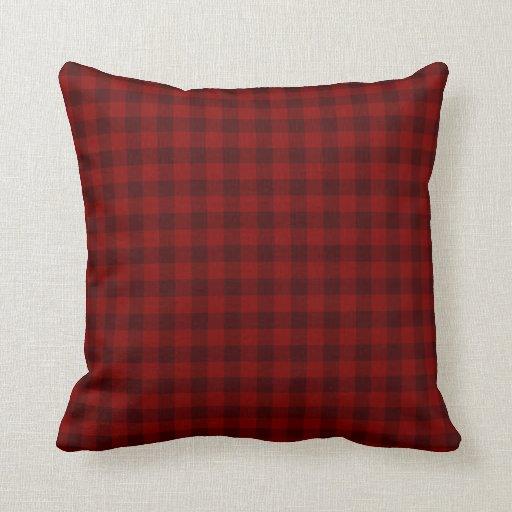 Red Plaid Throw Pillow Zazzle