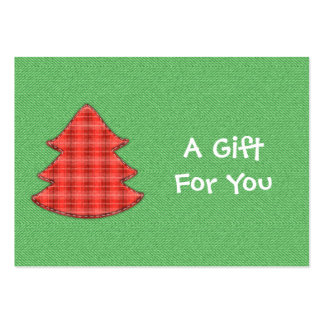 Red Plaid Tree Gift Tags Large Business Card