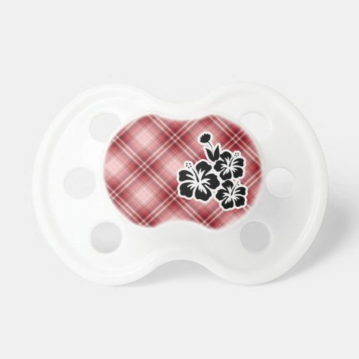Red Plaid Tropical Flowers Baby Pacifiers