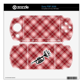 Red Plaid Trumpet Sony PSP 3000 Decal