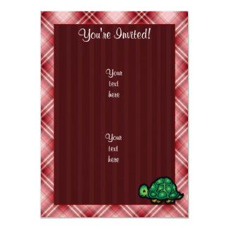 "Red Plaid Turtle 5"" X 7"" Invitation Card"