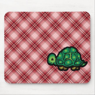 Red Plaid Turtle Mouse Pads