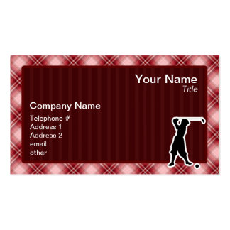 Red Plaid Vintage Golfer Double-Sided Standard Business Cards (Pack Of 100)