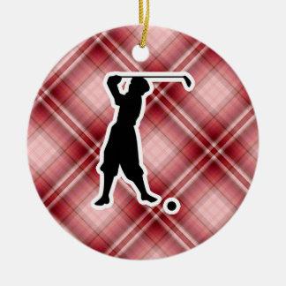 Red Plaid Vintage Golfer Ornaments