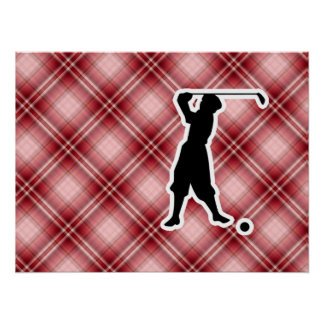 Red Plaid Vintage Golfer Print