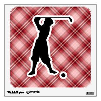 Red Plaid Vintage Golfer Room Stickers