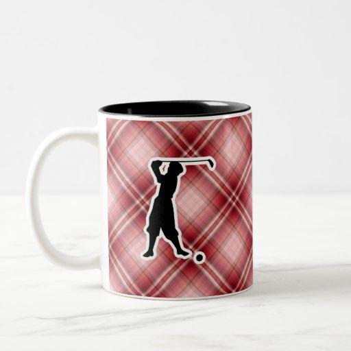 Red Plaid Vintage Golfer Two-Tone Coffee Mug