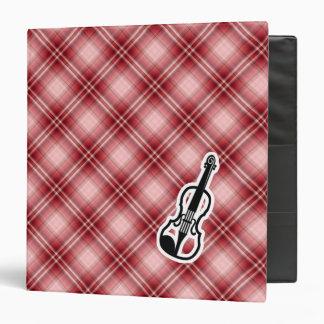Red Plaid Violin Vinyl Binder