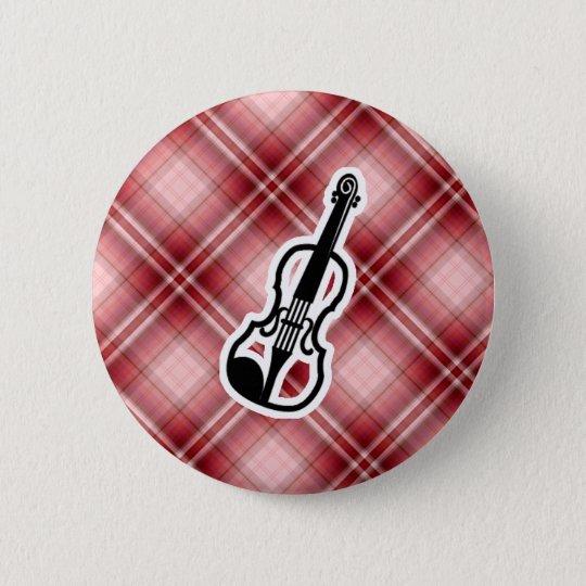 Red Plaid Violin Button