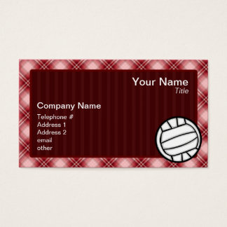 Red Plaid Volleyball Business Card