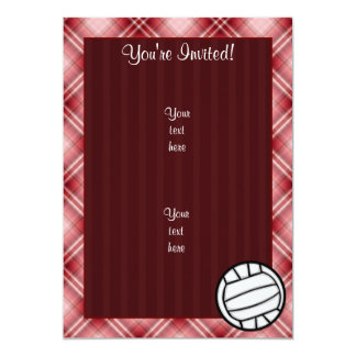 Red Plaid Volleyball Card