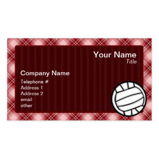 Red Plaid Volleyball Double-Sided Standard Business Cards (Pack Of 100)
