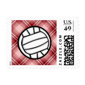 Red Plaid Volleyball Stamp