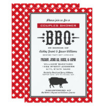 Red Plaid Wedding Couple's Shower | Backyard BBQ Invitation