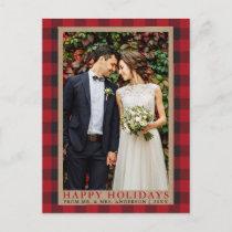 Red Plaid Wedding Photo Happy Holidays Kraft Postcard