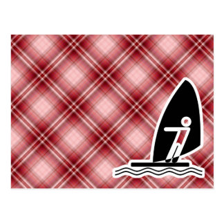Red Plaid Windsurfing Postcard