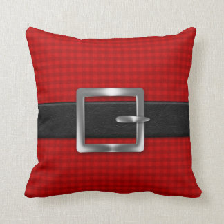 Red Plaid with Black Belt and Silver Buckle Throw Pillow