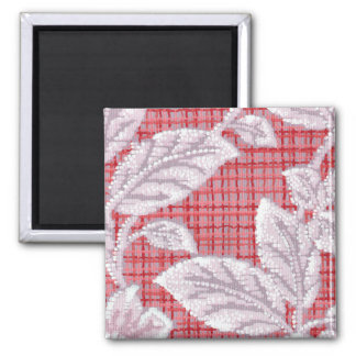Red Plaid with Leaves Vintage Wallpaper 2 Inch Square Magnet