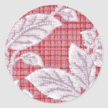 Red Plaid with Leaves Vintage Wallpaper Classic Round Sticker