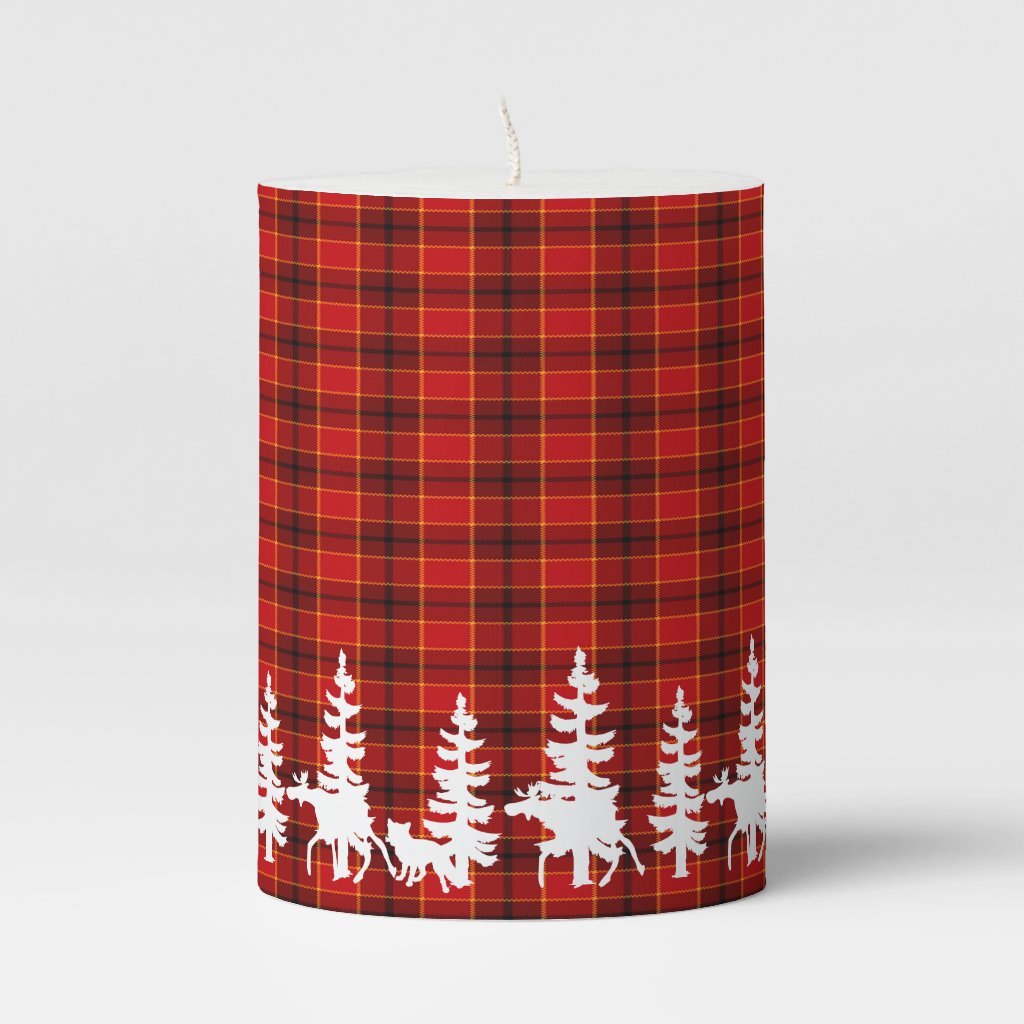 Red plaid with white forest and animal silhouettes