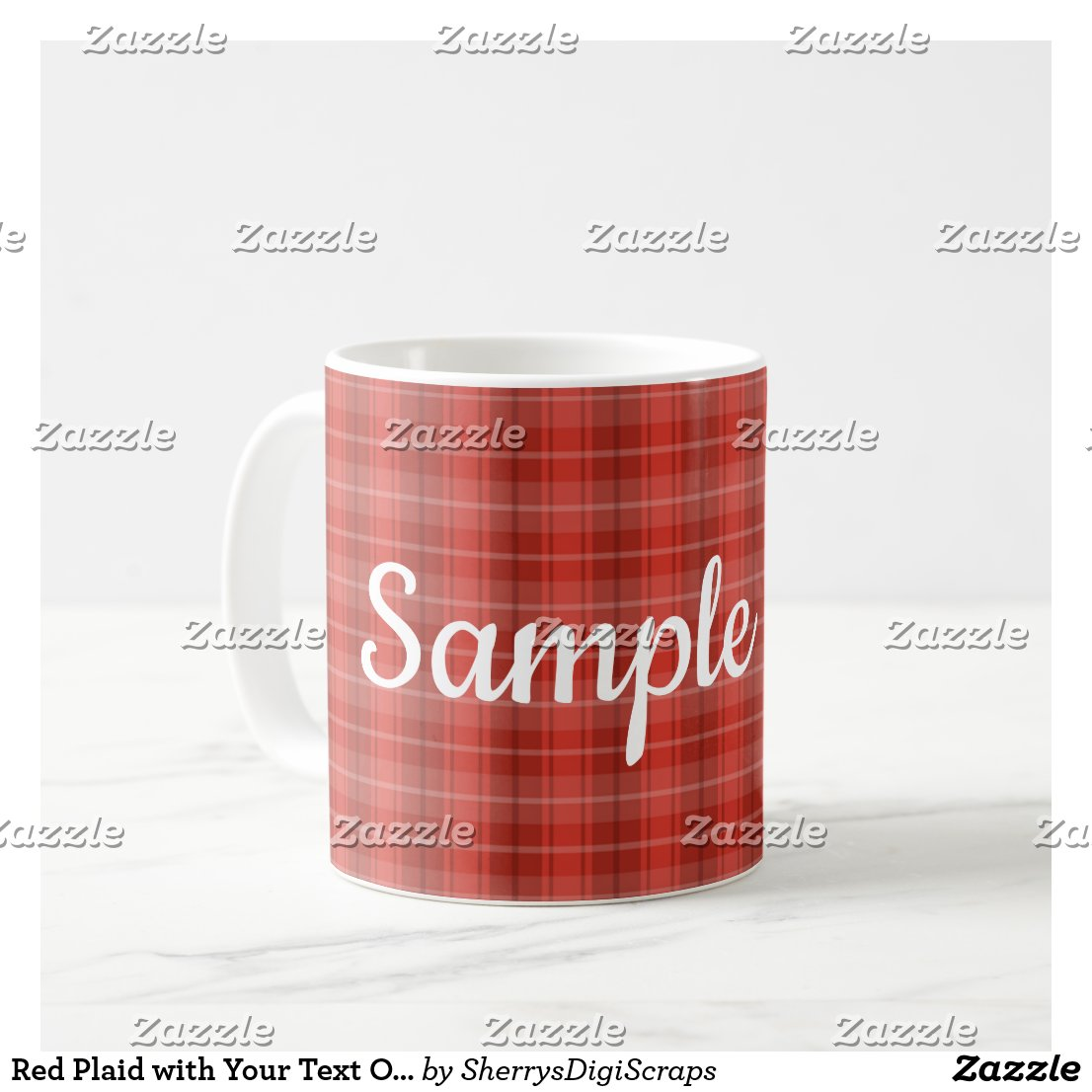 Red Plaid with Your Text Option Coffee Mug