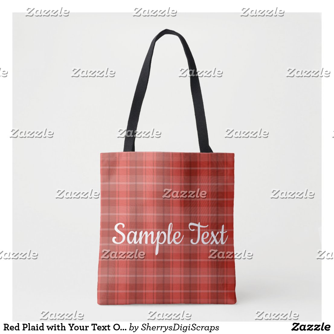 Red Plaid with Your Text Option Tote Bag