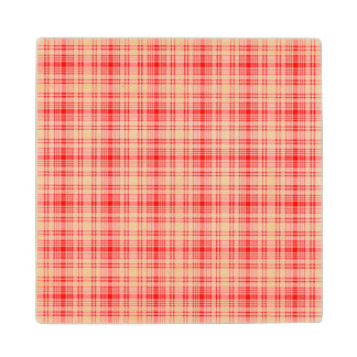 Red Plaid Wooden Coaster