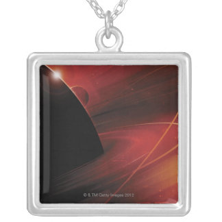 Red Planet Digital Design Silver Plated Necklace