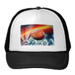Red planet over mountains with backlighting hats
