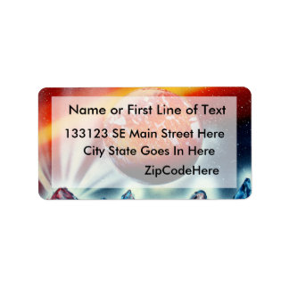 Red planet over mountains with backlighting custom address labels