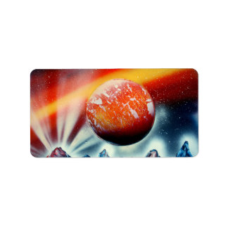 Red planet over mountains with backlighting address label