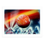 Red planet over mountains with backlighting postcards