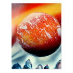 Red planet over mountains with backlighting post card