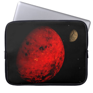 Red planet rocky moon laptop sleeve