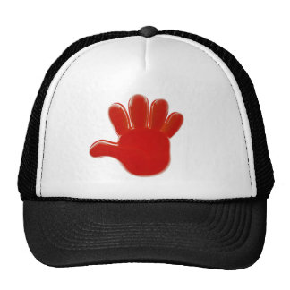 Red plastic hand trucker hat