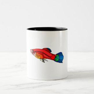 Red Platy Fish Two-Tone Coffee Mug