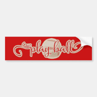 RED PLAY BALL BASEBALL GRAPHICS SAYINGS WORDS TEAM BUMPER STICKER