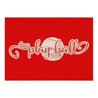 RED PLAY BALL BASEBALL GRAPHICS SAYINGS WORDS TEAM CUSTOM ANNOUNCEMENTS