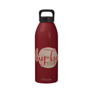 RED PLAY BALL BASEBALL GRAPHICS SAYINGS WORDS TEAM WATER BOTTLES