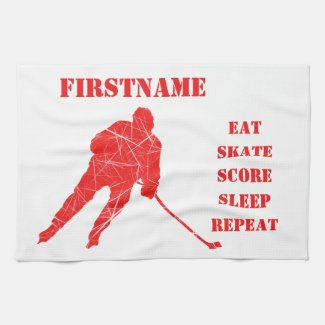 Red player - ice hockey skate towel
