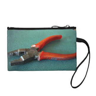 Red Pliers on table Change Purse