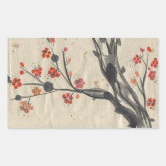 Red Plum Blossoms Brush Art Stickers