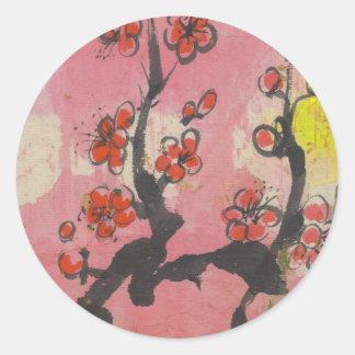 Red Plum Blossoms Classic Round Sticker