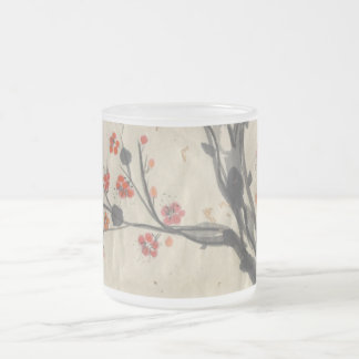 Red Plum Blossoms Frosted Mug