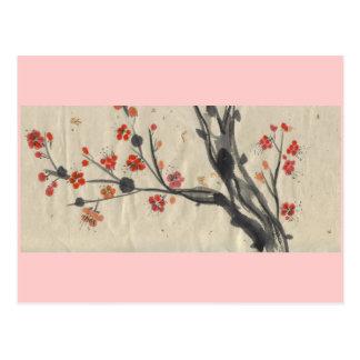 Red Plum Blossoms Pink Border Postcard