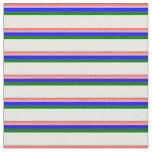 [ Thumbnail: Red, Plum, Blue, Dark Green, and White Lines Fabric ]