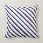 [ Thumbnail: Red, Plum, Blue, Dark Green, and White Lines Throw Pillow ]