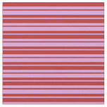 [ Thumbnail: Red & Plum Colored Lines Pattern Fabric ]